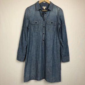 J. Crew chambray denim pullover tunic dress